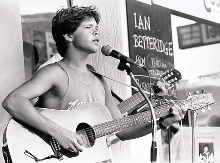 Troy Cassar-Daley busking on Peel St in his teens.